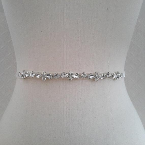 Mariage - Bridal Bet, Skinny Rhinestone Belt,Thin Bridal Sash, Rhinestone Wedding Belt, Bridesmaid Belt, Best Friend Bridal 179BR