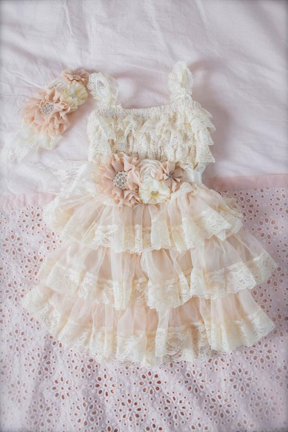 Wedding - Champagne Lace Flower Girl Dress -Ivory Lace Baby Doll Dress-Vintage Wedding-Shabby Chic Flower Girl Dress-Shabby Chic Top-Ivory Flower Girl