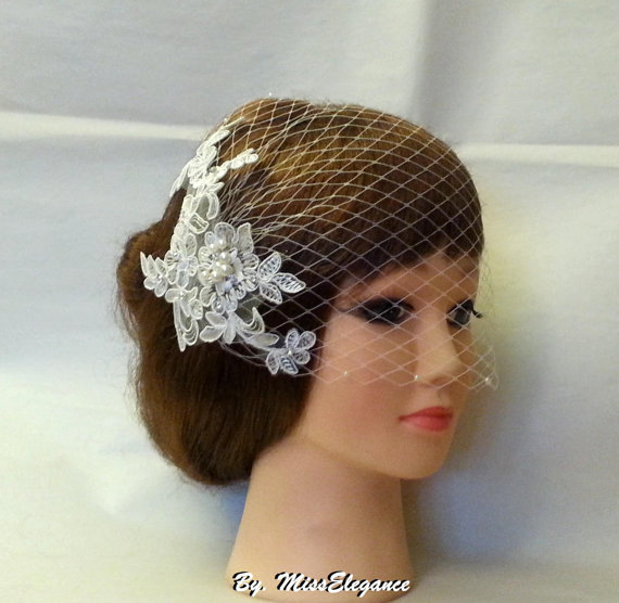 Wedding - Birdcage veil Wedding Bridal hairpiece  White Ivory Vintage inspired bridal accessory Busher veil w lace fascinator,crystal Rhinestone,pearl