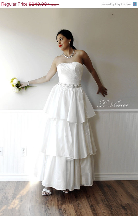 Wedding - CLEARANCE Floor Length 3 Tiered Bohemian A-line Wedding DRess Adorned with Small Flowers and Rhinestone Sash