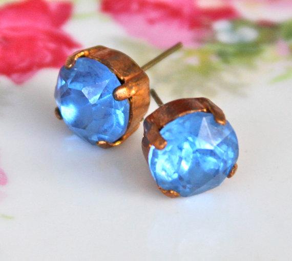Wedding - Vintage Blue Rhinestone Gold Antiqued Brass Round Rhinestone Post Earrings - Wedding, Bridal