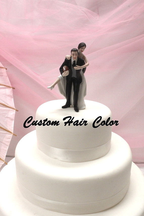 Personalized Wedding Cake Topper Football Couple Football