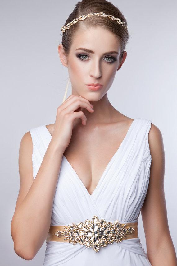Luxury Gold Crystal Bridal SashWedding Dress Sash Belt Rhinestone Bridesmaid Wedding