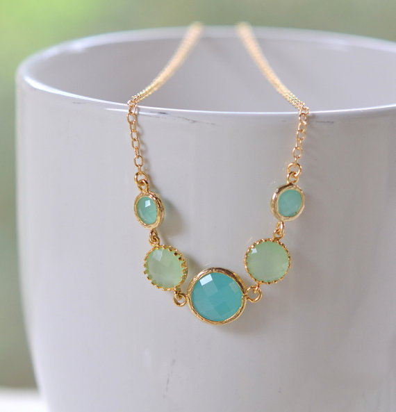 Gold fashion jewel statement necklace in shades of mint for Turquoise colored fashion jewelry