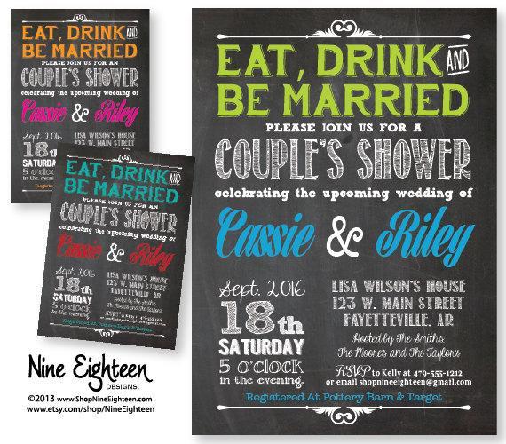 زفاف - Eat Drink Be Married, Couples Shower Wedding Invitation. Custom Printable PDF/JPG. I design, you print. Made to Match add ons available.