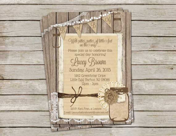 rustic burlap and lace baby shower invitation gender neutral mason jar printable digital file personalized 5x7