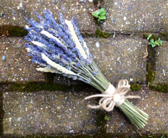 Hochzeit - Simple dried flower bridesmaid's bouquet with Lavender and Wheat.  Accented with burlap and vintage buttons.