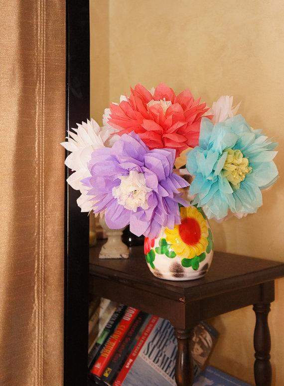 Wedding - Large Tissue Paper Flower with Pearl Stamen Choose Your Own Colors- Ainsley