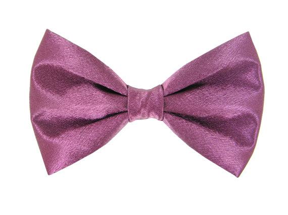 Свадьба - Purple Wine Satin Wedding Dog Bow Tie/ Formal Dog Bow: Wine Satin