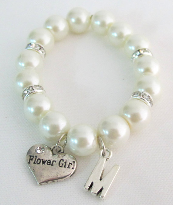 Flower Girl Personalized Bracelet Initial Name Bracelet Junior