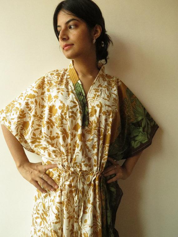 Wedding - White Mustard Leafy Kaftan Pajamas to live in beachwear Caftan, spa robe..make great Anniversary or Birthday gifts, new mom Gift
