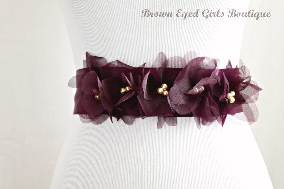 Mariage - Vera Wang Inspired Aubergine Wedding Sash, Bridal Sash, Wedding Belt, Bridal Belt -Aubergine Organza Flowers