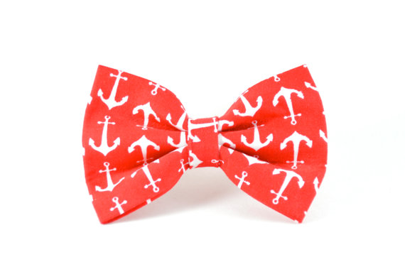 Свадьба - Red Anchors Dog Bow Tie - Detachable Cherry Red Nautical Sailor White Anchor Dog Bow