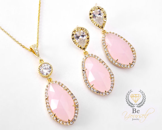 Mariage - Pale Pink Gold Bridal Earring Necklace Set Blush Rose Teardrop Matching Set Pastel Rose Opal Bridesmaid Gift Sterling Silver Wedding Jewelry