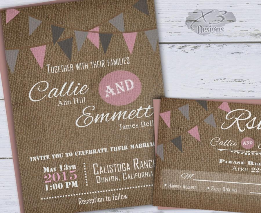 Свадьба - Rustic Wedding Invitation, Spring Barn Wedding Invitation, Pink & Gray Bunting Flags, Country Wedding Invite, Printable Backyard Wedding DIY
