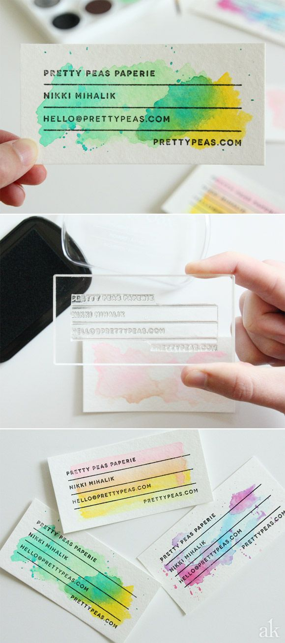 Mariage - DIY Stamped Watercolor Business Cards