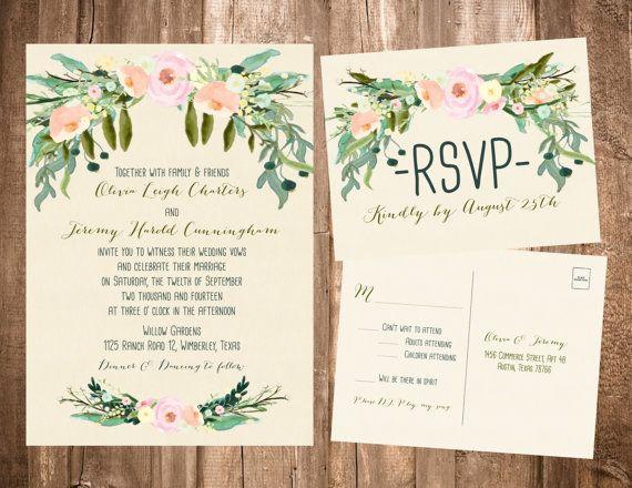Wedding Invites Pinterest: Spring Bohemian Wedding Invitation Set: Light Pink