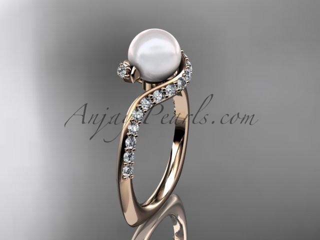 Wedding - 14kt rose gold diamond pearl engagement ring AP277