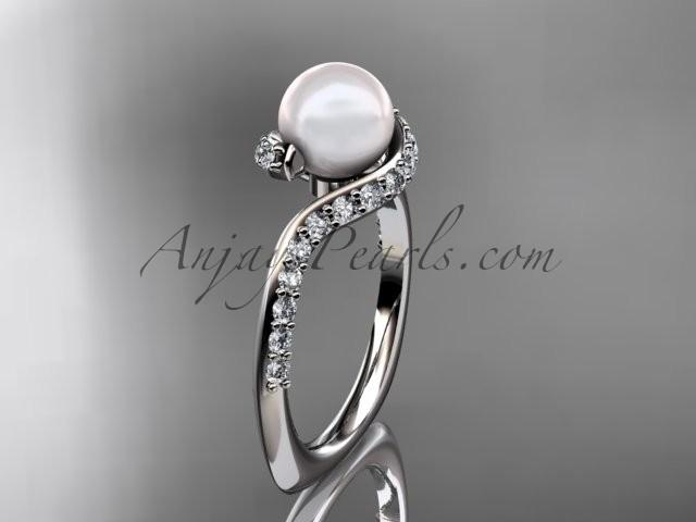 Wedding - Platinum diamond pearl engagement ring AP277