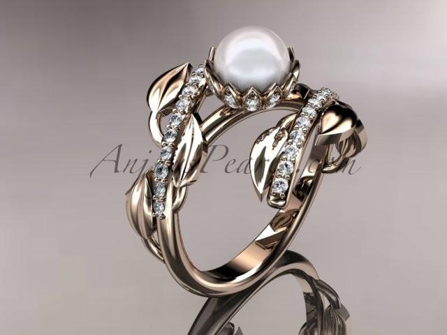 زفاف - 14kt rose gold diamond pearl engagement ring AP287