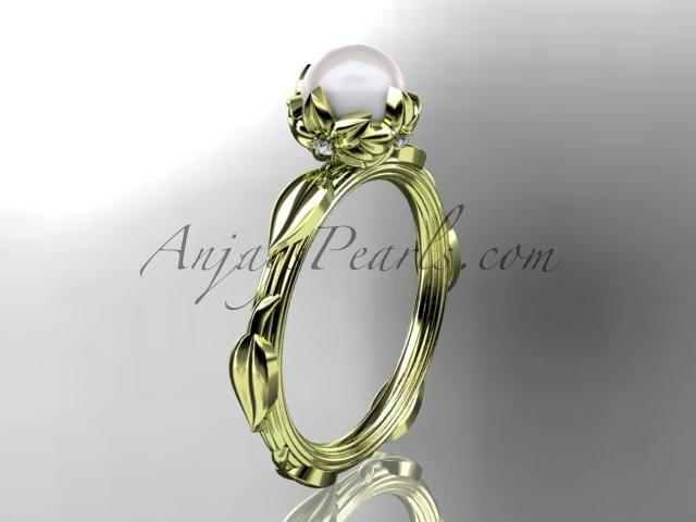 Mariage - 14k yellow gold diamond pearl vine and leaf engagement ring AP290