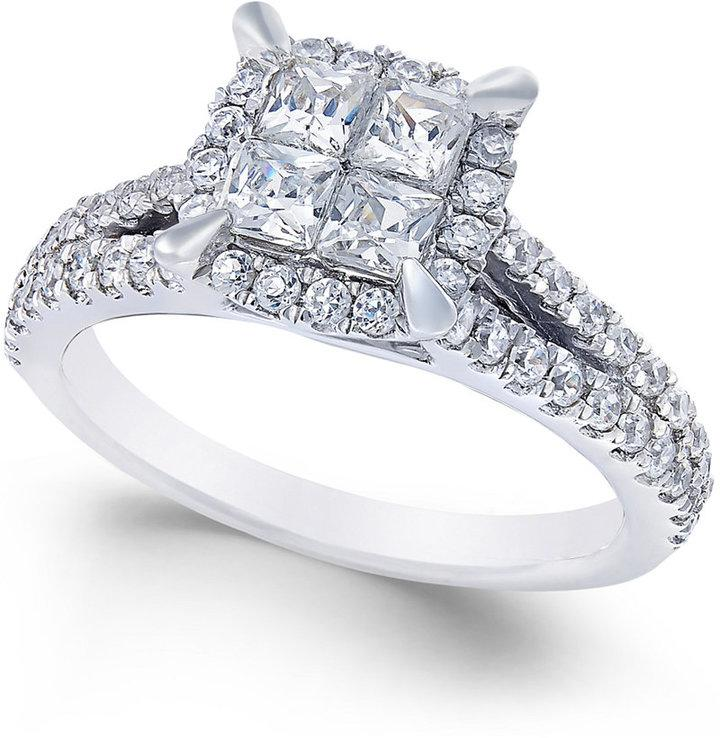 Square Quad Halo Diamond Engagement Ring 1 Ct T w In 14k White Gold 2341