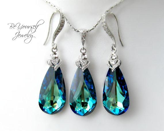 زفاف - Bermuda Blue Earrings & Necklace Set Swarovski Crystal Bridal Teardrop Matching Set Something Blue Peacock Bridesmaid Gift Wedding Jewelry