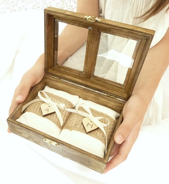 Wooden Wedding Ring Box For Ceremony
