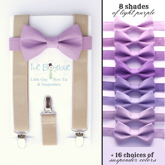 Mariage - Light Purple Bow Tie and Tan Suspenders: Toddler Suspenders, Wisteria, Lilac, Iris, Amethyst, Lavender, Light Purple, Ring Bearer Gift