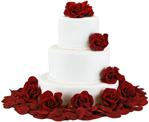 Свадьба - Red Silk Rose Cake Flowers - Wedding Reception Decoration