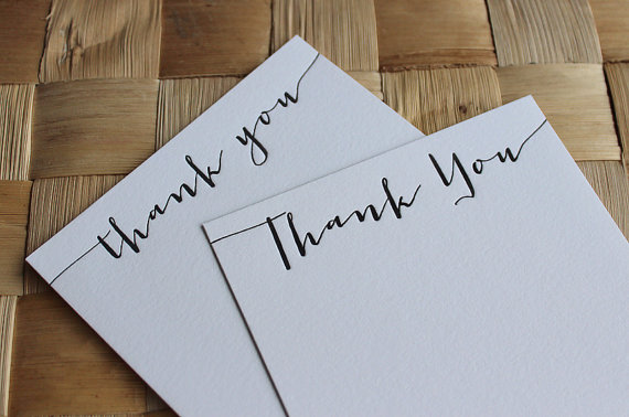 Letterpress Thank You Cards Calligraphy Set Of 10 20