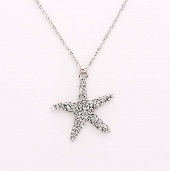 Mariage - Crystal Silver Starfish Necklace Beach Wedding Bridal Bridesmaid Jewelry Rhinestone Starfish Charm Necklace Nautical Silver Beach Jewelry