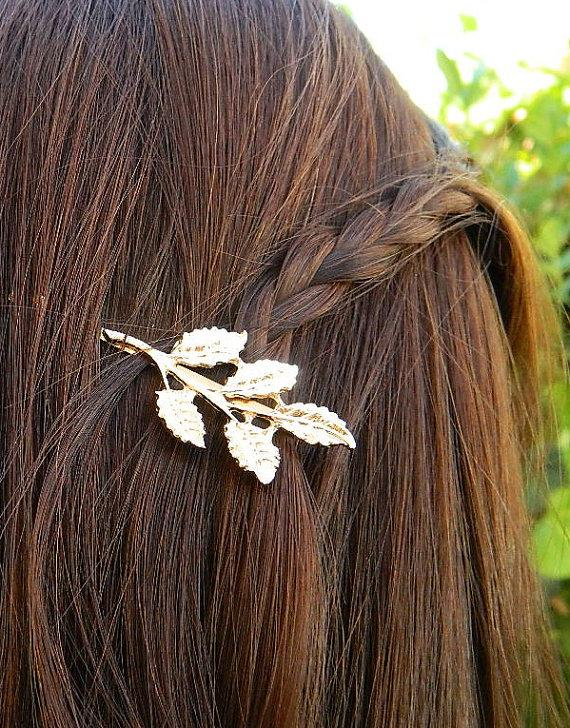 Свадьба - Set of 2 Gold Leaf Hair Pin Roman Style Bridal Accessory Bobby Pin Hair Clip, Vintage Brooch Pin, Wedding Bridesmaid Hair, Leaf Jewelry
