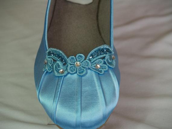 زفاف - Something Blue Flats Wedding Shoes hand dyed and hand enhanced