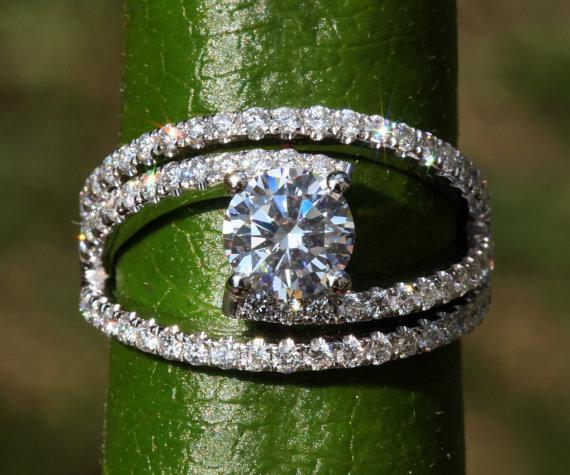 Mariage - Diamond Engagement Ring - weddings - brides - Luxury -Swirly - unique - twist - Abstract - 14K - Bp034