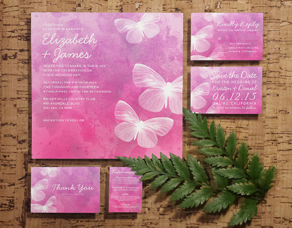 زفاف - Cute Butterflies Wedding Invitation Set/Suite, Invites, Save the date, RSVP, Thank You Cards, Response Cards, Printable/Digital/PDF/Printed
