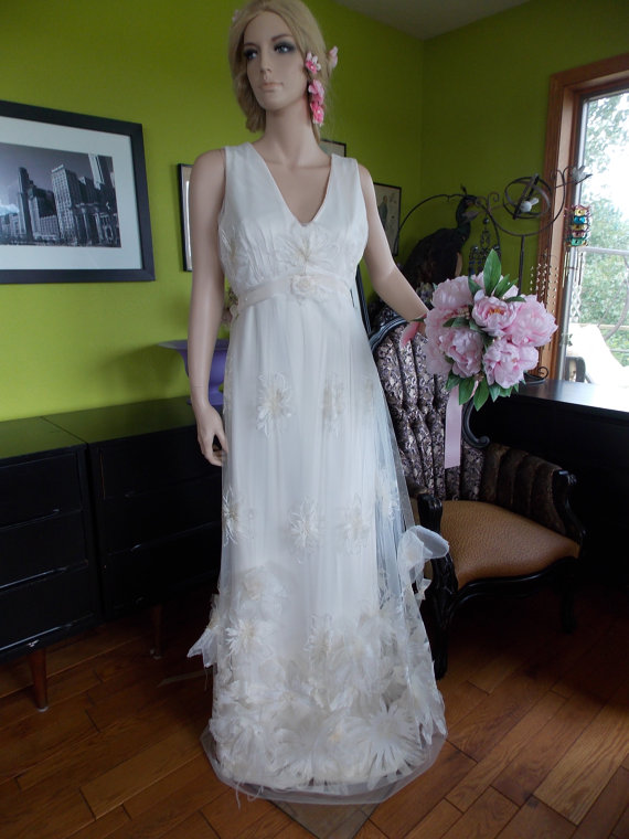 Wedding Dress Fairy Hippie Boho Woodland CHiC English Tulle Floral ...