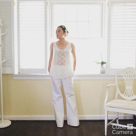 زفاف - Wedding wide legged pants and separate top-a lovely alternative to the wedding dress-made to order- white
