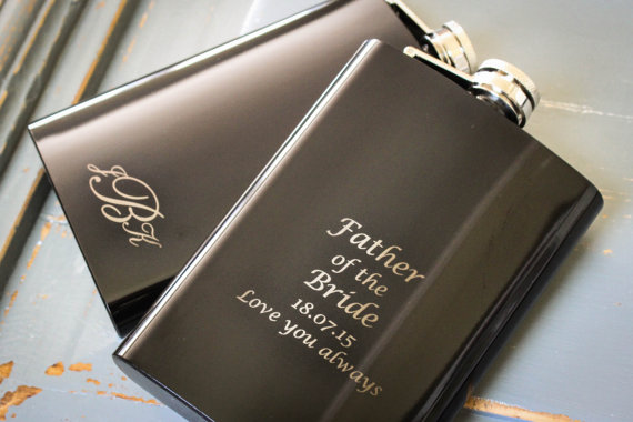 Custom Black Flask Personalized Engraved Monogrammed Grooms Gift For Him Groomsmen Father Of The Bride