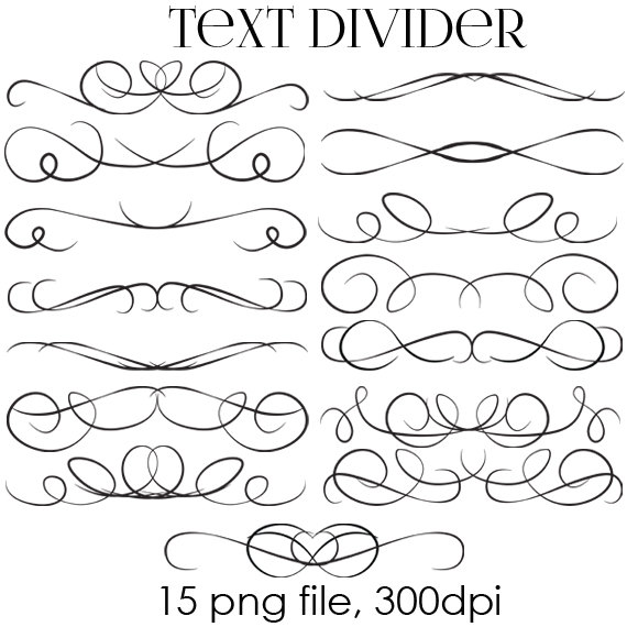Merveilleux 70% OFF SALE Text Dividers Digital Clipart   Wedding Digital Clip Art    Flourish Swirl   Design Element   Wedding Invitation