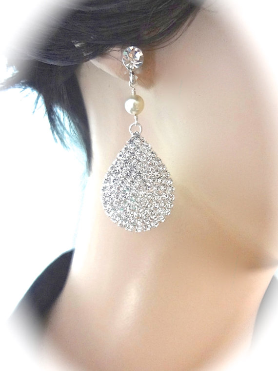 زفاف - Bridal Jewelry ~ Rhinestone Earrings // Sparkly  // Large // Teardrops // Sterling Silver posts // Best Seller // Bridesmaids // Prom //