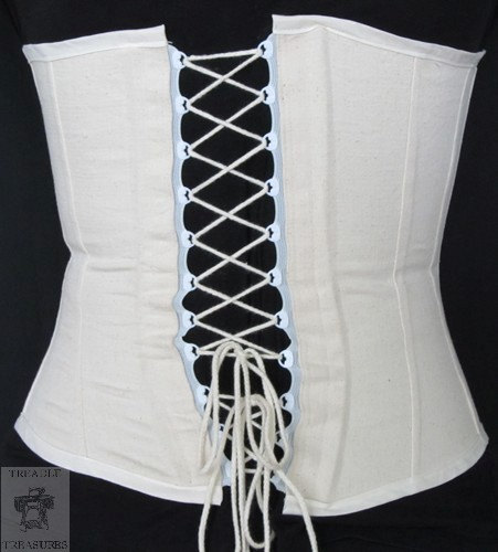 Свадьба - Clearance - Civil War Era Working Corset  - Plastic lacing tape in back - metal hooks and eyes in front - in stock