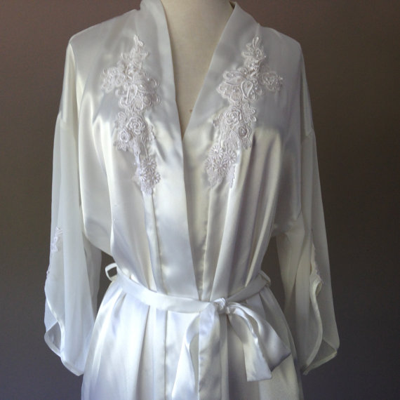 S / Satin Robe / Long White Bridal Dressing Gown / Size Small / FREE ...