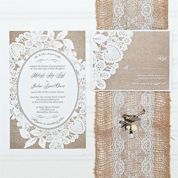 Burlap And Lace Wedding Invitations, Budget Invitation