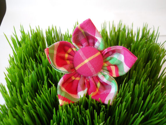 Свадьба - Pink plaid dog collar flower...Your choice of size