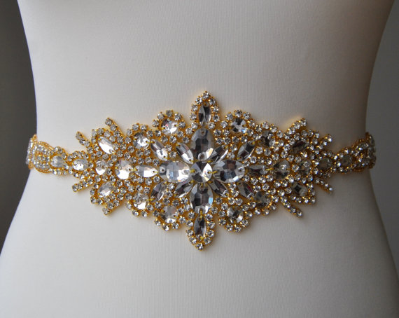 "Mariage - 23"" Luxury Gold Crystal Bridal Sash,Wedding Dress Sash Belt,  Rhinestone Sash,  Rhinestone Bridal Bridesmaid Sash Belt, Wedding dress sash"