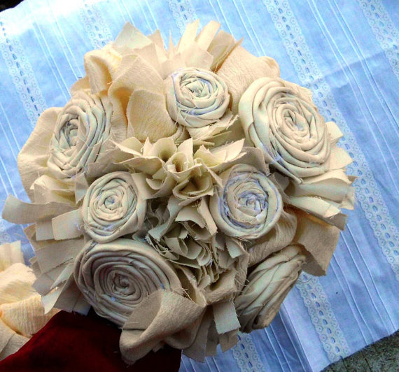 Свадьба - Wedding Bouquet, Rustic, Bridal, Vintage, Cotton, Fabric Flower Bouquet, Country, Shabby Chic 8""