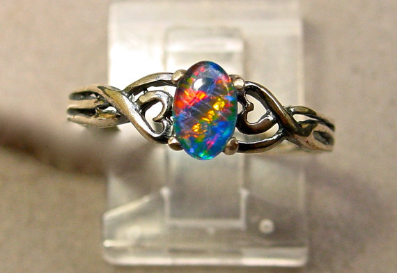 Feminine Opal Engagement Cocktail Ring Petite Delicate Opal