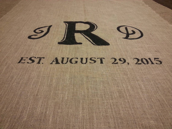 Wedding - Rustic burlap aisle runner with initials and date/ custom sizes available