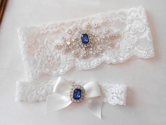 Mariage - Wedding Garter Set Ivory or White Stretch Lace Bridal Garter MONOGRAM OPTION  With a Beautiful Blue Pearl and Rhinestone Diamond Setting